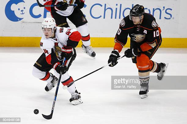 JeanGabriel Pageau of the Ottawa Senators skates past Corey Perry of the Anaheim Ducks during the third period of a game at Honda Center on January...