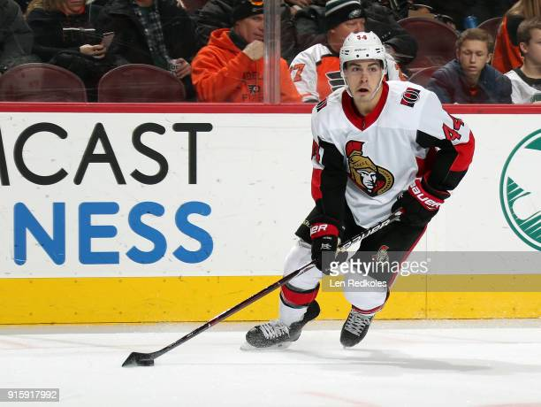 JeanGabriel Pageau of the Ottawa Senators skates the puck against the Philadelphia Flyers on February 3 2018 at the Wells Fargo Center in...