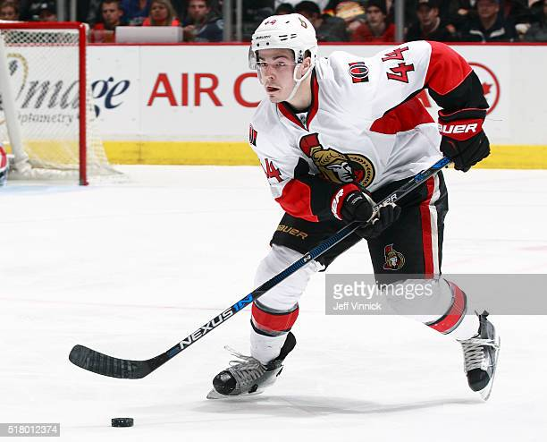 JeanGabriel Pageau of the Ottawa Senators skates up ice with the puck during their NHL game against the Vancouver Canucks at Rogers Arena February 25...