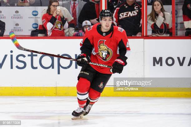 JeanGabriel Pageau of the Ottawa Senators skates with rainbow tape on his stick blade in support of the Hockey Is For Everyone initiative during...
