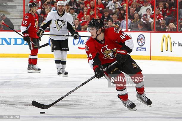 JeanGabriel Pageau of the Ottawa Senators skates with the puck against the Pittsburgh Penguins in Game Three of the Eastern Conference Semifinals...