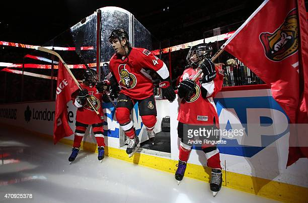 JeanGabriel Pageau of the Ottawa Senators steps onto the ice during player introductions prior to playing against the Montreal Canadiens in Game Four...