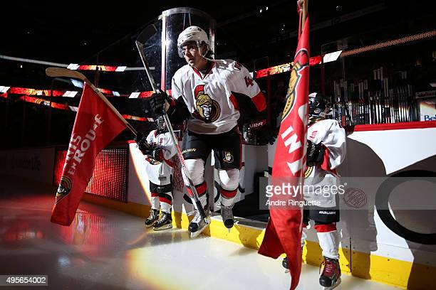 JeanGabriel Pageau of the Ottawa Senators steps onto the ice during player introductions prior to a game against the Detroit Red Wings at Canadian...