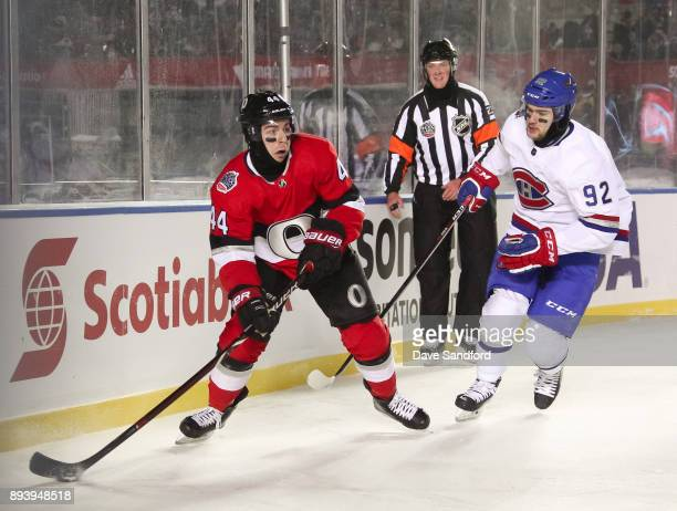 JeanGabriel Pageau of the Ottawa Senators stickhandles the puck away from Jonathan Drouin of the Montreal Canadiens during the 2017 Scotiabank NHL100...