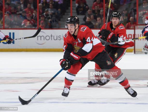 JeanGabriel Pageau of the Ottawa Senators stickhandles the puck against the Columbus Blue Jackets at Canadian Tire Centre on April 6 2019 in Ottawa...
