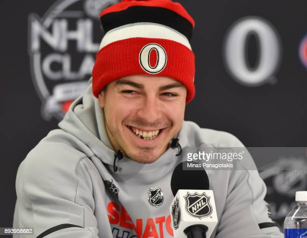 JeanGabriel Pageau of the Ottawa Senators takes questions from the media following a 30 win over the Montreal Canadiens during the 2017 Scotiabank...