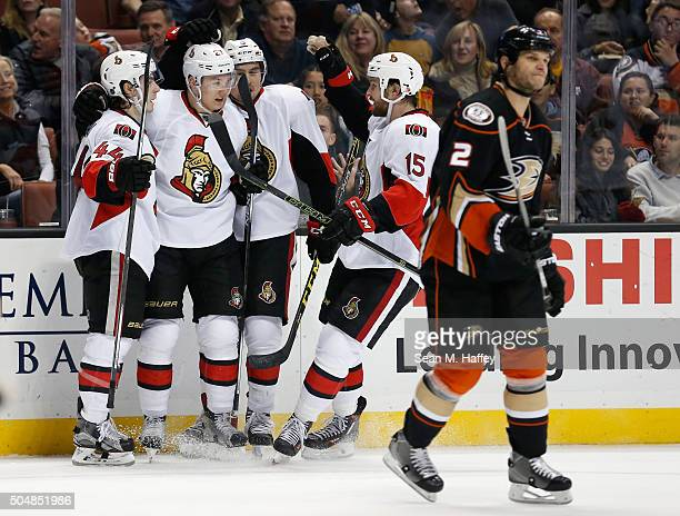 JeanGabriel Pageau Zack Smith and Cody Ceci of the Ottawa Senators congratulate Curtis Lazar after he scored a goal during the second period against...