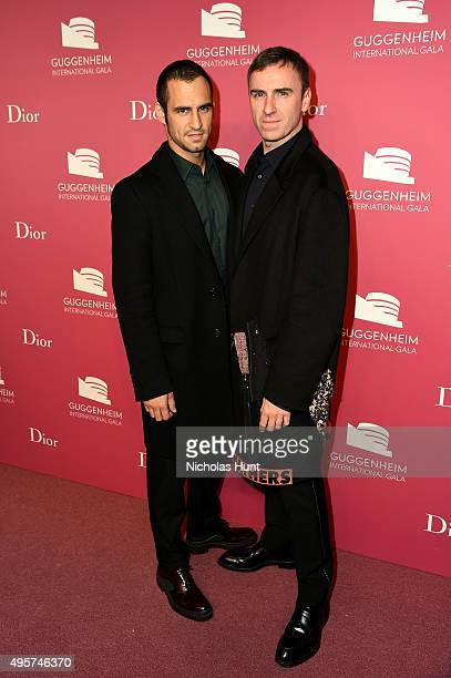 JeanGeorges d'Orazio and Raf Simons attend the 2015 Guggenheim International Gala PreParty made possible by Dior at Solomon R Guggenheim Museum on...