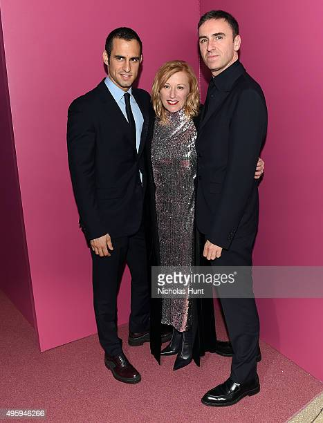 JeanGeorges d'Orazio Cindy Sherman and Raf Simons attend the 2015 Guggenheim International Gala Dinner made possible by Dior at Solomon R Guggenheim...