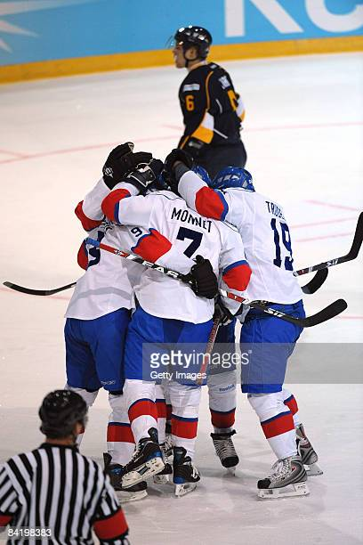 Jean-Guy of ZSC celebrates after scoring the second goal during the IIHF Champions Hockey League semi-final match between Espoo Blues and ZSC Lions...