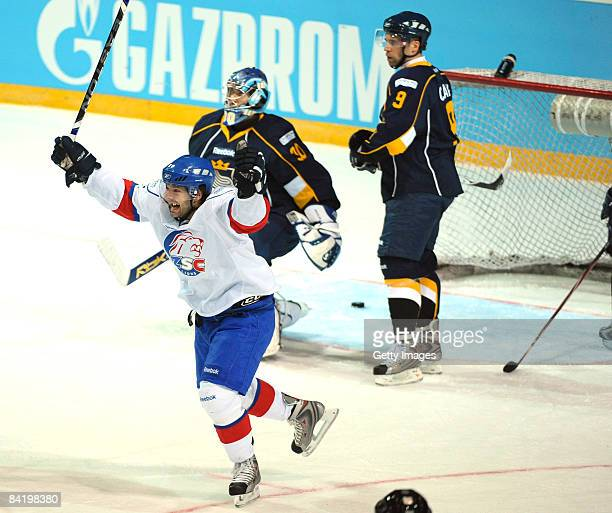 Jean-Guy of ZSC celebrates after the second goal during the IIHF Champions Hockey League semi-final match between Espoo Blues and ZSC Lions Zurich at...