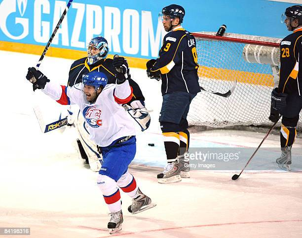 Jean-Guy ZSC after second goal during the IIHF Champions Hockey League semi-final match between Espoo Blues and ZSC Lions Zurich at the Lansi Auto...