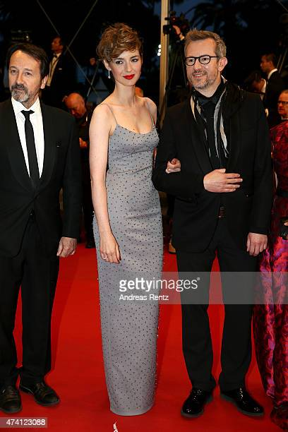 JeanHugues Anglade Louise Bourgoin and Laurent Lariviere attend the Premiere of 'Shan He Gu Ran' during the 68th annual Cannes Film Festival on May...