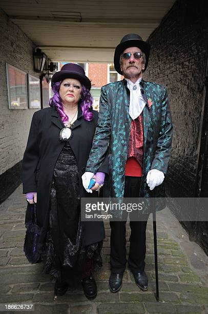 Jeanie and Mel Marton from Bridlington visit the Goth weekend on November 2 2013 in Whitby England The Whitby Gothic Weekend that takes place in the...