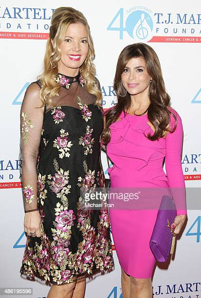Jeanie Buss and Paula Abdul arrive at the TJ Martell Foundation's Spirit of Excellence Awards held at the Beverly Wilshire Four Seasons Hotel on...