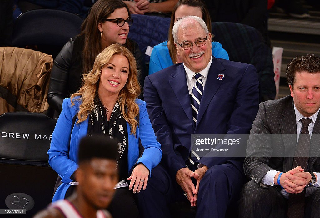 Jeanie Buss and Phil Jackson attend the Milwaukee Bucks vs New York Knicks game at Madison Square Garden on April 5, 2013 in New York City.
