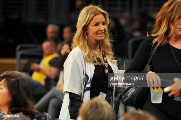 Jeanie Buss attends a basketball game between the Los Angeles Lakers and the Detroit Pistons at Staples Center on October 31 2017 in Los Angeles...