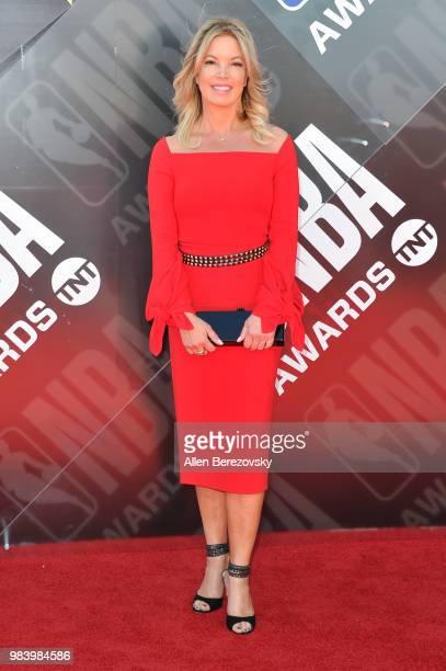 Jeanie Buss attends the 2018 NBA Awards Show at Barker Hangar on June 25 2018 in Santa Monica California
