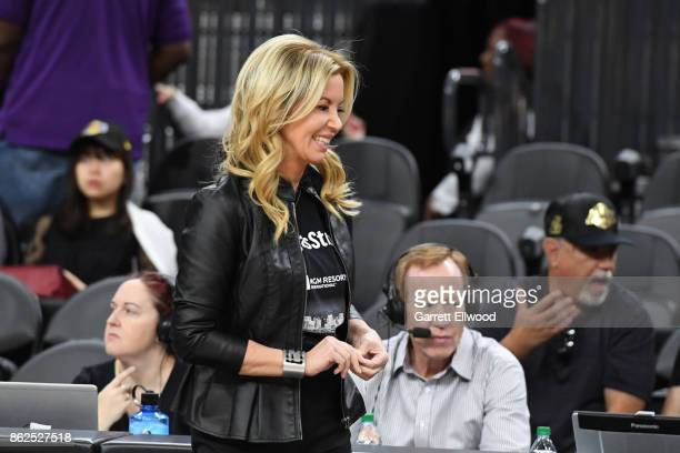Jeanie Buss before a preseason game between the Sacramento Kings and Los Angeles Lakers on October 8 2017 at TMobile Arena in Las Vegas Nevada NOTE...