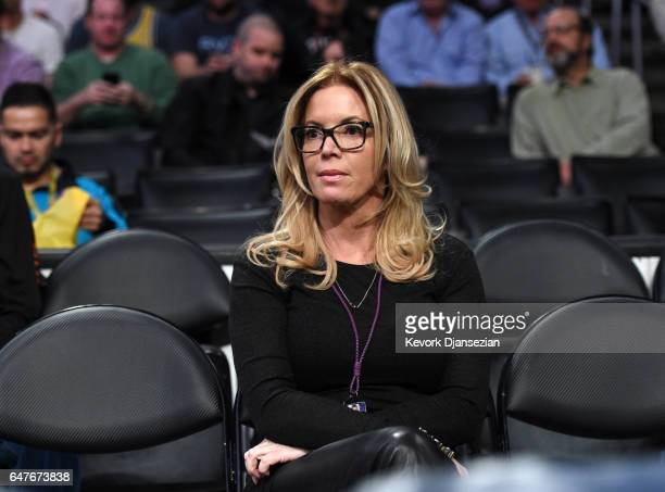 Jeanie Buss partowner and president of the Los Angeles Lakers seated courtside during the Boston Celtics and Los Angeles Lakers basketball game at...