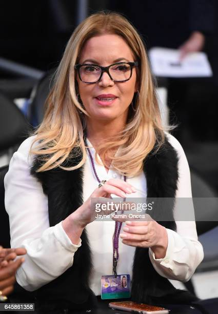 Jeanie Buss President and part owner of the Los Angeles Lakers watches warm up before the game against the San Antionio Spurs at Staples Center on...