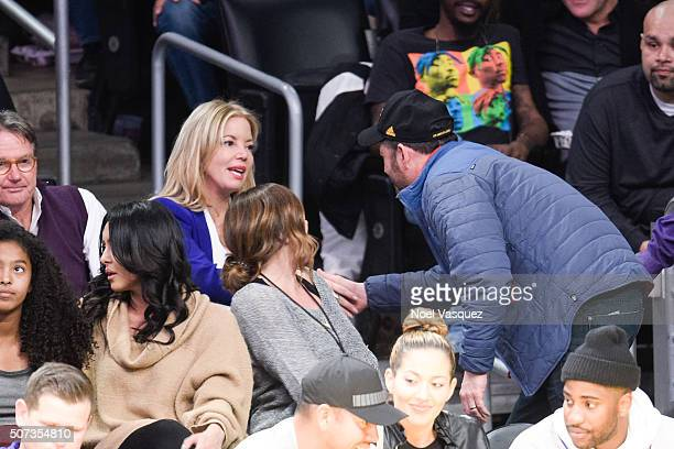 Jeanie Buss speaks to Jimmy Kimmel at a basketball game between the Chicago Bulls and the Los Angeles Lakers at Staples Center on January 28 2016 in...