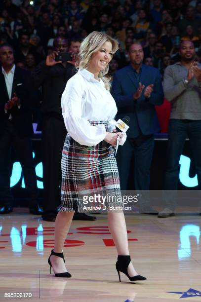 Jeanie Buss walks on court for Kobe Bryant's jersey retirement ceremony on December 18 2017 at STAPLES Center in Los Angeles California NOTE TO USER...