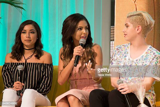 Jeanine Amapola Jackie Hernandez and YouTube personality Brendan Jordan onstage at the 4th Annual Beautycon Festival Los Angeles at the Los Angeles...