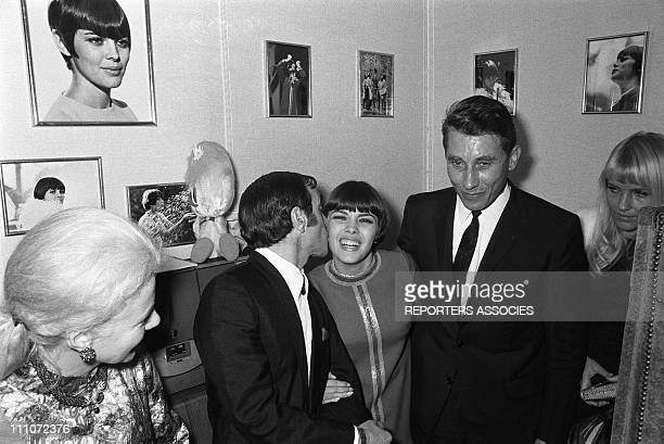 Jeanine Charles Aznavour Mireille Mathieu Jacques Anquetil and Ulla in Paris France on December 18 1967