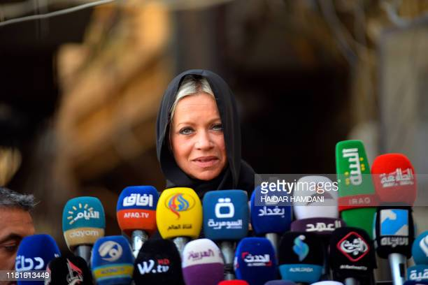 Jeanine Hennis-Plasschaert, UN Special Representative for Iraq and Head of the United Nations Assistance Mission for Iraq , speaks during a press...