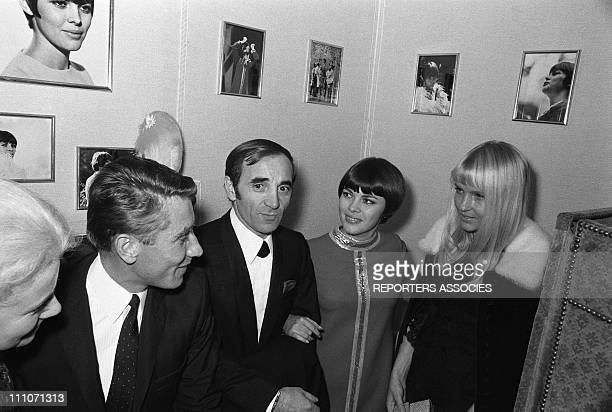 Jeanine Jacques Anquetil Charles Aznavour Mireille Mathieu and Ulla in Paris France on December 18 1967
