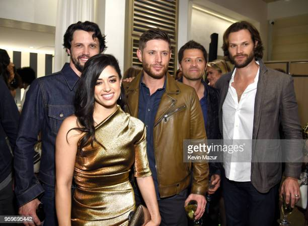 Jeanine Mason Nathan Parsons Jensen Ackles Misha Collins and Jared Padalecki attend The CW Network's 2018 upfront party at Avra Madison Estiatorio on...