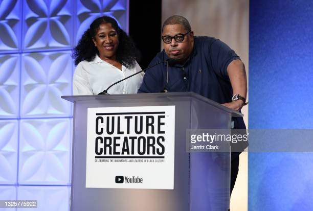 Jeanine McClean and Jeff Robinson, recipients of the 2021 Culture Creators Music Award speaks onstage at the Culture Creators Innovators & Leaders...