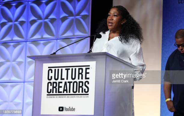 Jeanine McClean, recipient of the 2021 Culture Creators Music Award speaks onstage at the Culture Creators Innovators & Leaders Awards at The Beverly...
