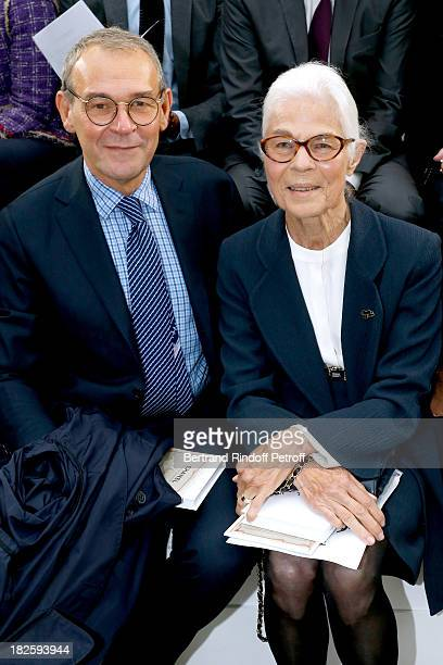 JeanJacques Aillagon and Micheline ChabanDelmas attend the Chanel show as part of the Paris Fashion Week Womenswear Spring/Summer 2014 held at Grand...