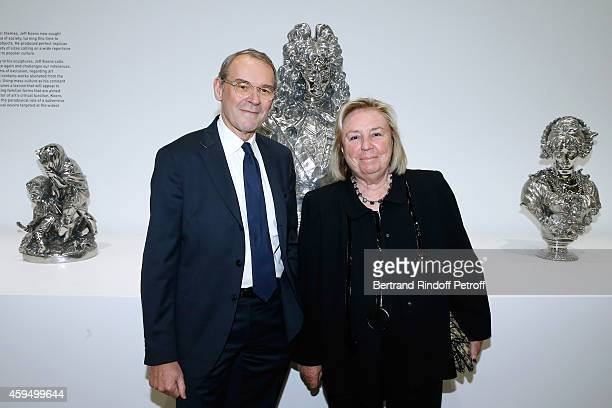 Jean-Jacques Aillagon and Miss Francois Pinault attend the 'Jeff Koons' Retrospective Exhibition : Private Visit at Beaubourg on November 23, 2014 in...