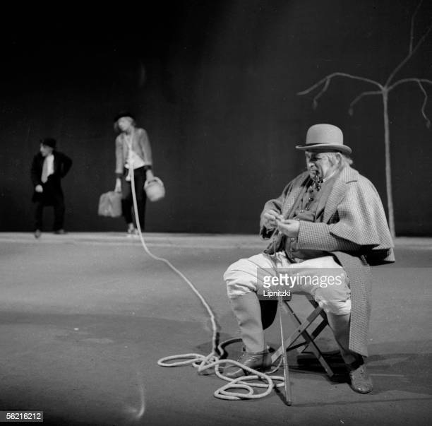 JeanJacques Bourgeois in 'Waiting for Godot' of Samuel Beckett Production JeanMarie Serreau Paris theatre of Odeon may 1961