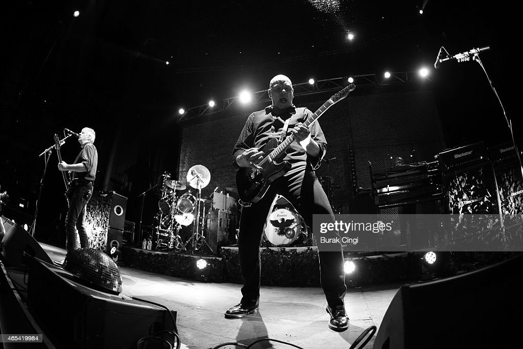 Jean-Jacques Burnel and Baz Warne of The Stranglers perform on stage at The Roundhouse on March 6, 2015 in London, United Kingdom.