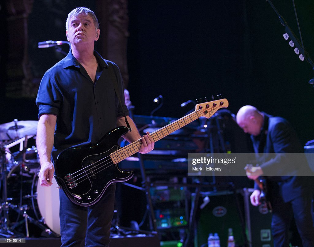 Jean-Jacques Burnel and Baz Warne of The Stranglers performing on stage at Portsmouth Guildhall on March 18, 2014 in Portsmouth, United Kingdom.