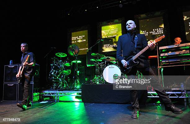 JeanJacques Burnel Baz Warne and Dave Greenfield of The Stranglers perform on stage at Eventim Apollo Hammersmith on March 8 2014 in London United...