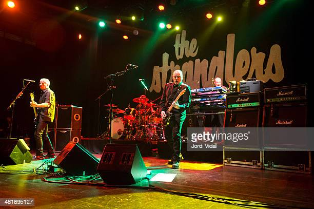 JeanJacques Burnel Baz Warne and Dave Greenfield of The Stranglers perform on stage at Barts on April 1 2014 in Barcelona Spain
