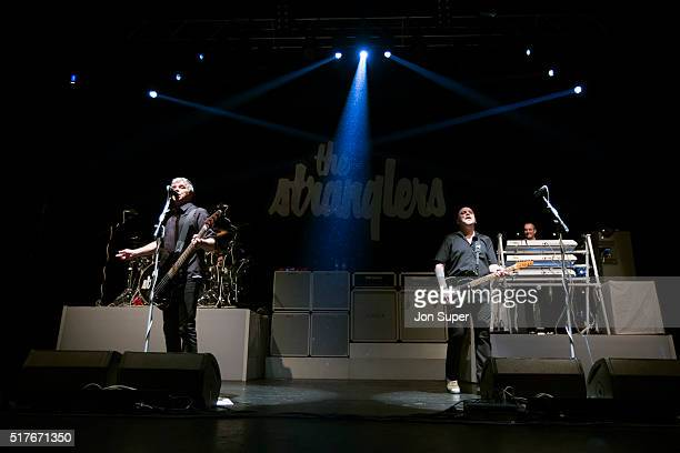 JeanJacques Burnel Baz Warne and Dave Greenfield of The Stranglers performs on stage at O2 Apollo Manchester on March 26 2016 in Manchester United...