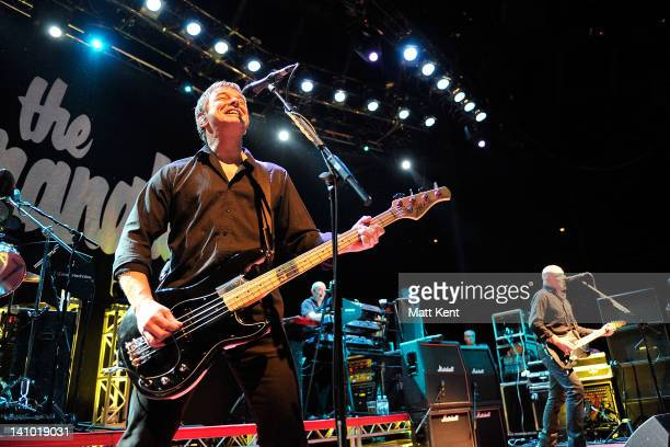 JeanJacques Burnel Dave Greenfield and Baz Warne of The Stranglers perform on stage at The Roundhouse on March 9 2012 in London United Kingdom