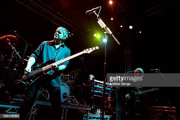 JeanJacques Burnel Dave Greenfield and Baz Warne of The Stranglers perform on stage in concert at 02 academy on March 9 2013 in Leeds England