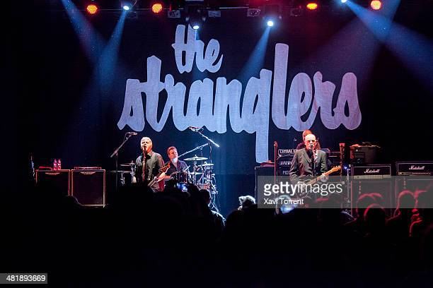 JeanJacques Burnel Jet Black Dave Greenfield and Baz Warne of The Stranglers performs in concert at Sala Barts on April 1 2014 in Barcelona Spain