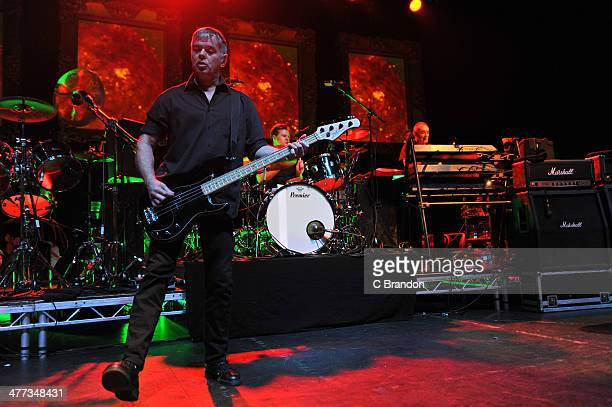 JeanJacques Burnel Jim MacAulay and Dave Greenfield of The Stranglers perform on stage at Eventim Apollo Hammersmith on March 8 2014 in London United...