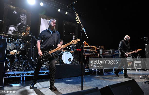 JeanJacques Burnel Jim MacAulay Dave Greenfield and Baz Warne of The Stranglers perform on stage at Eventim Apollo Hammersmith on March 8 2014 in...