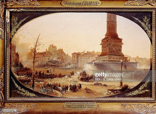 JeanJacques Champin Bastille Square and Barricade at Faubourg Saint Antoine on 25th June 1848