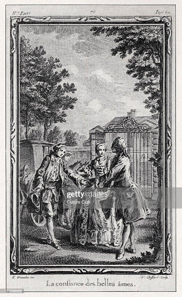 Jean-Jacques Rousseau, La Nouvelle Héloise.  Illustration from 1761 edition (4th volume) - engraving by Gravelot showing 'La confiance des belles âmes'.  Rousseau, Swiss / French philosopher, writer. : News Photo