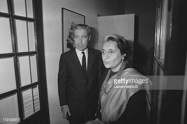 JeanJacques Servan Schreiber and Indira Gandhi in New Delhi India on January 9 1980